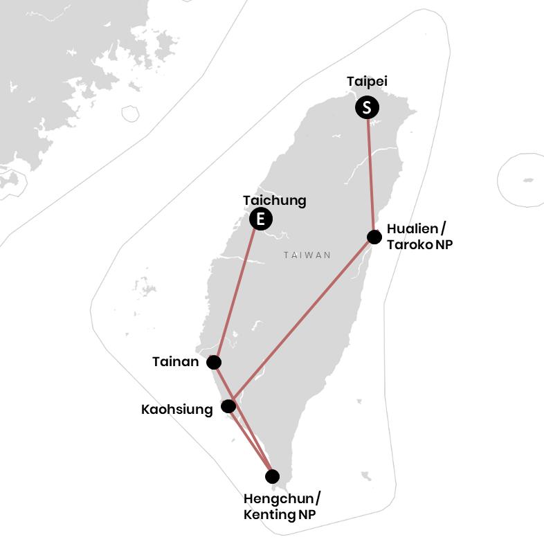 Karte: In 6 Stopps durch Taiwan