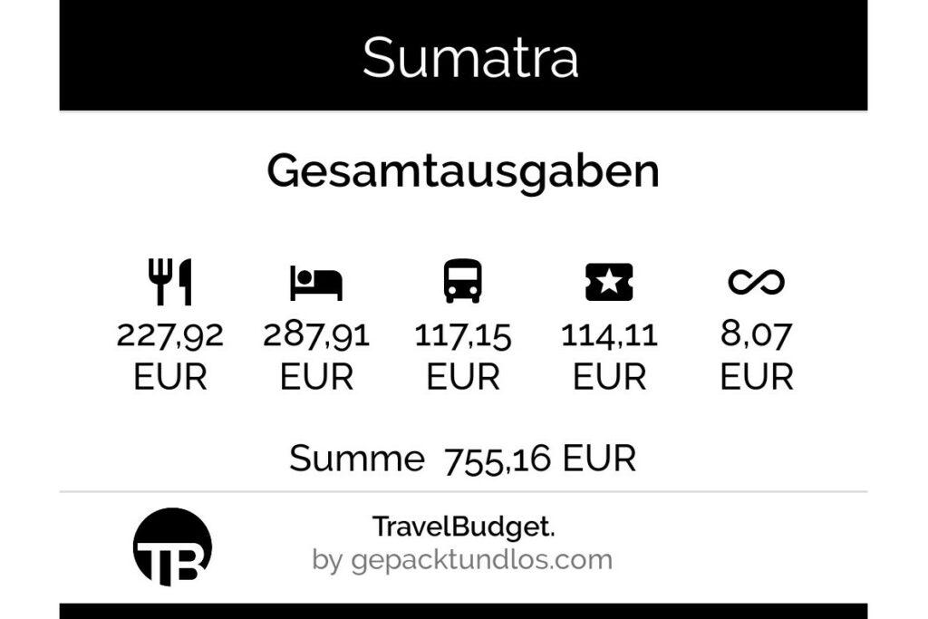 Kosten in Sumatra: Gesamtausgaben für 23 Tage Sumatra für zwei Personen