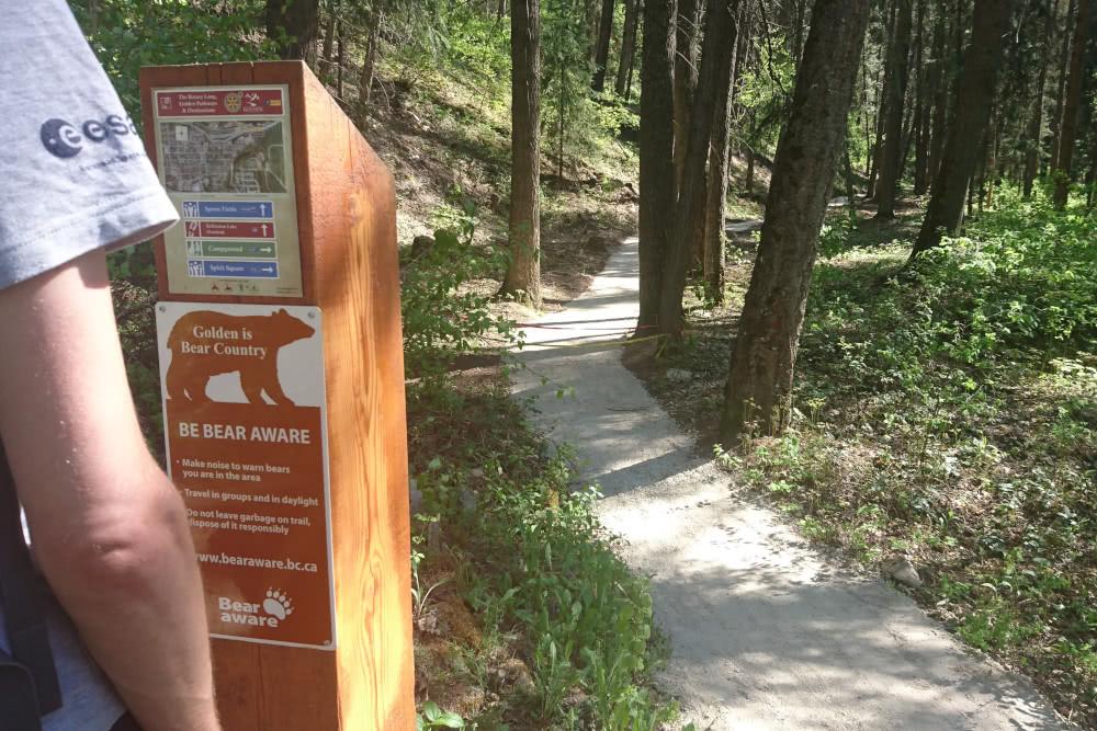Hinweise auf Bärenbegegngungen am Wanderpfad