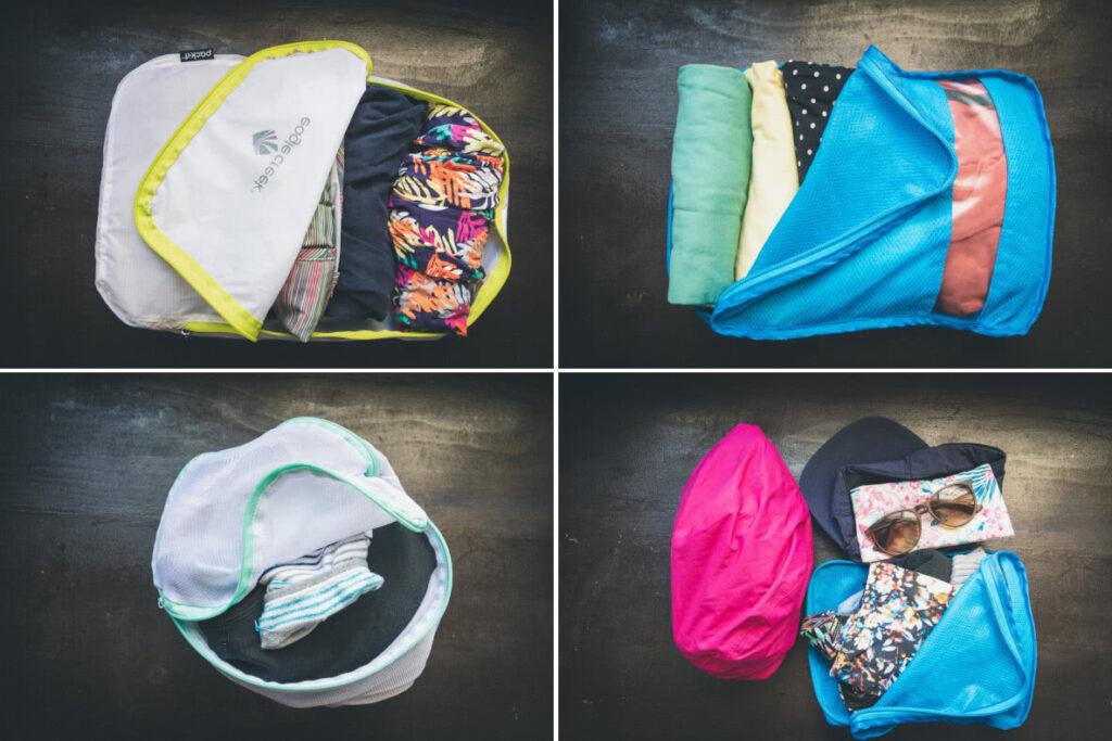 Weltreise Packliste Anziehsachen in Packwürfeln