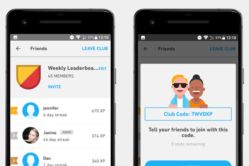 Screenshots Wochensieger in unserem Duolingo-Club