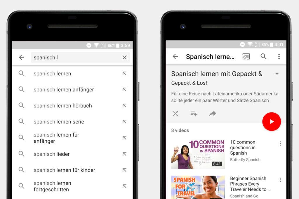 Screenshots Youtube als Spanisch-Lernplattform