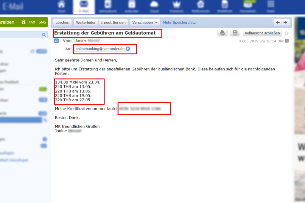 E-Mail an Santander zwecks Erstattung der Fremdgebühren