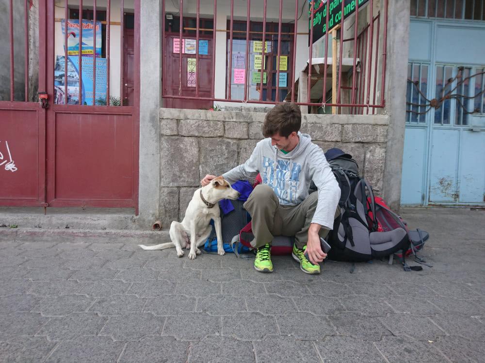 Guatemala Backpacking Eine Hündin begleitete uns bis zum Ziel