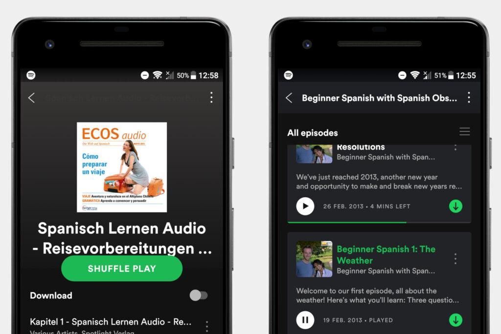 Screenshots Spanische Podcasts und Episoden auf Spotify