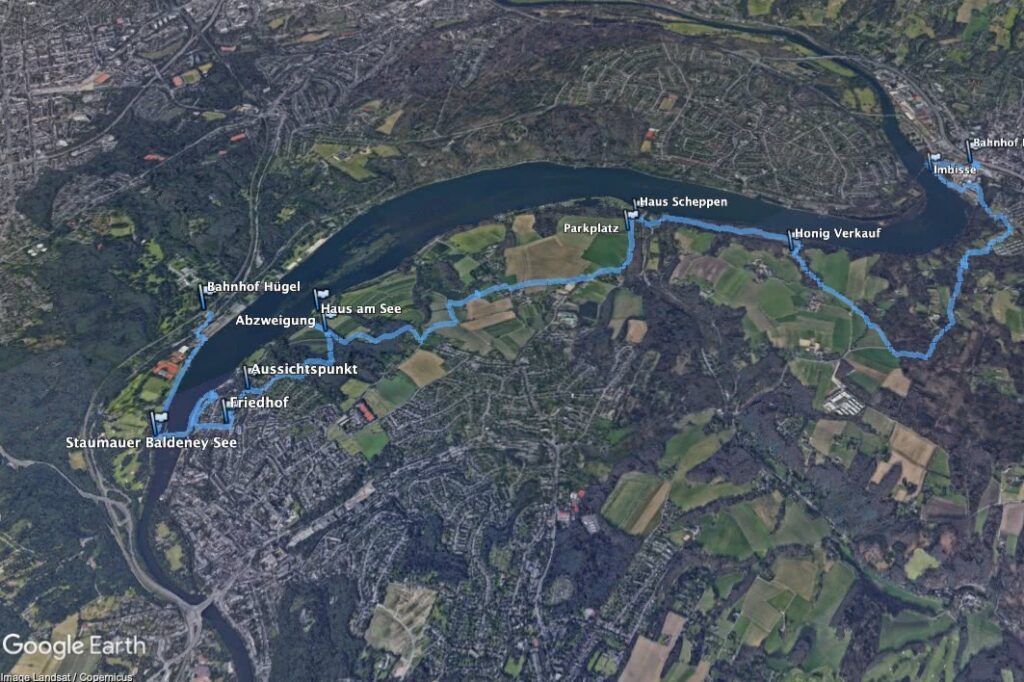Eine Übersicht über die Route der Wanderung. (Erstellt mit Google Earth Pro)