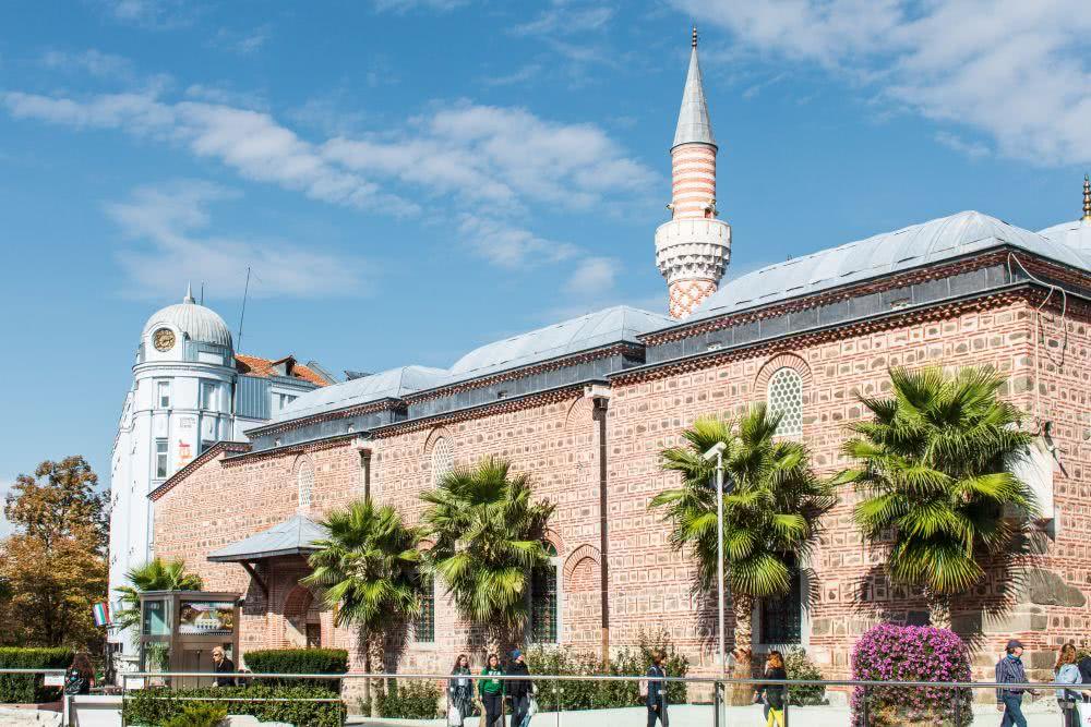 Bulgarien Plovdiv Eine Moschee inmitten des Zentrums zwischen Neustadt und Altstadt