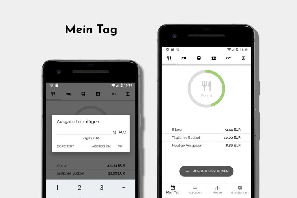 Reisebudget App TravelBudget Dein Tagesbudget auf einem Blick.