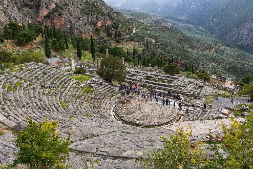 Die archäologische Stätte Delphi im antiken Griechenland