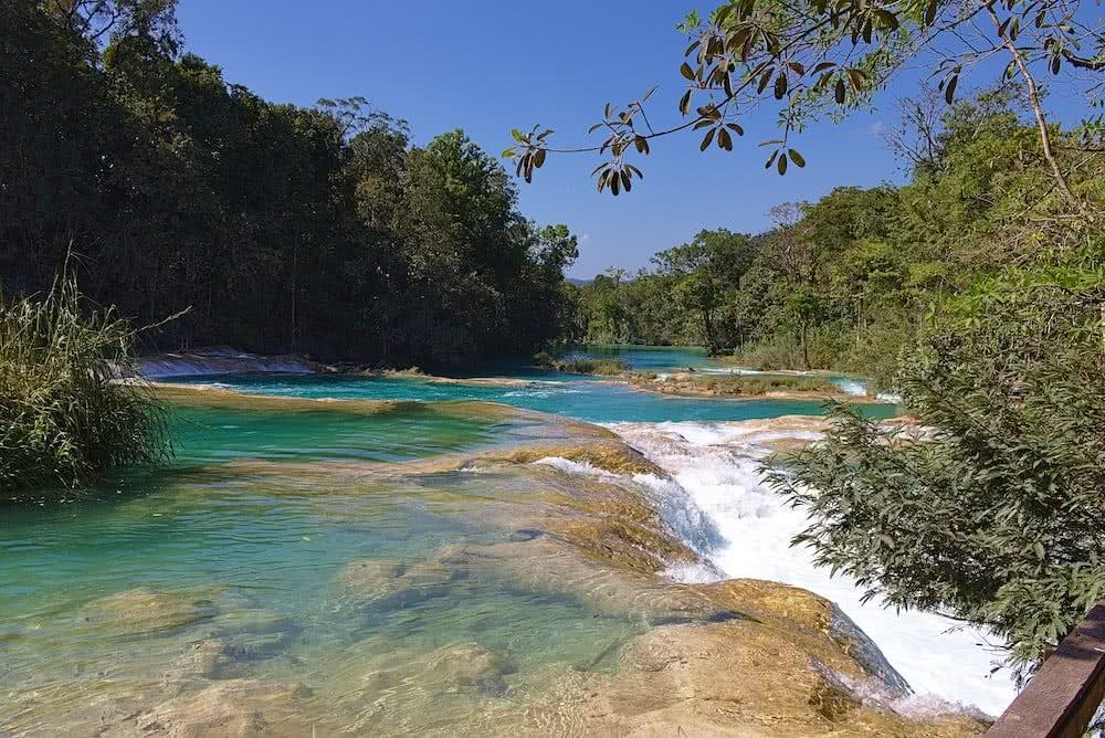 Agua Azul: Immer wieder sammelt sich das Wasser in azurblau strahlenden Becken.
