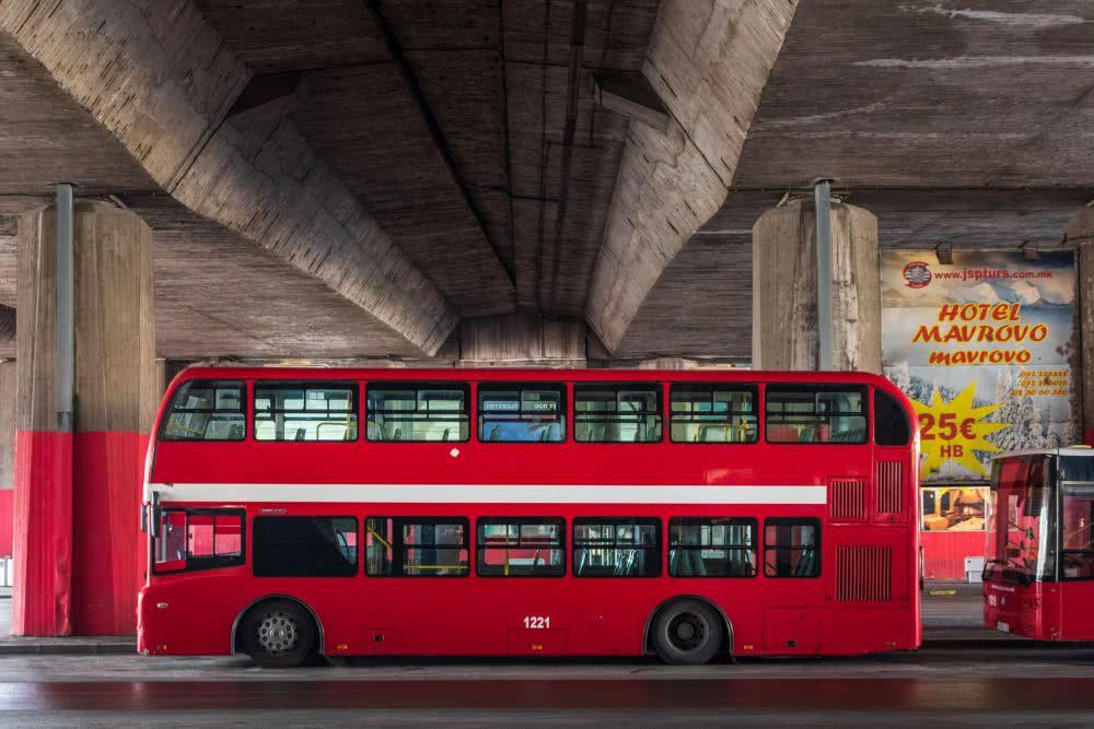 Öffentliche Verkehrsmitteln in Skopje: Doppeldecker-Busse