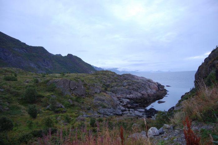 Die schroffen Felsen der Küste der Lofoten.