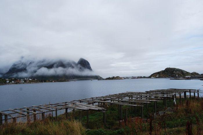 Wolkenverhangene Berge auf den Lofoten. Im Vordergrund: Gestelle zur Trocknung von Fisch.
