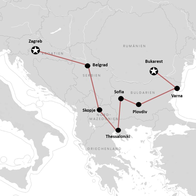 Alle Balkan-Länder auf unserer Reiseroute auf der Karte