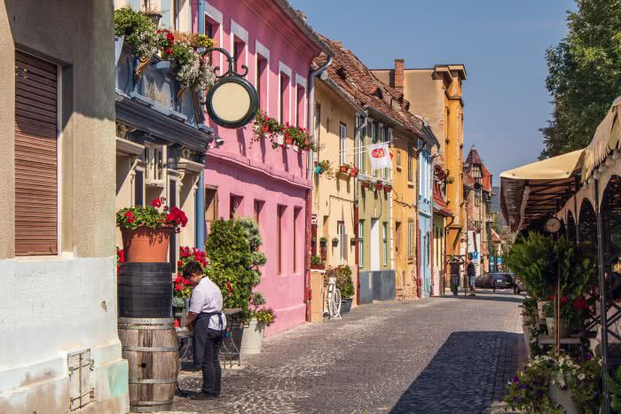 Bunte Häuserfassaden in Sibiu