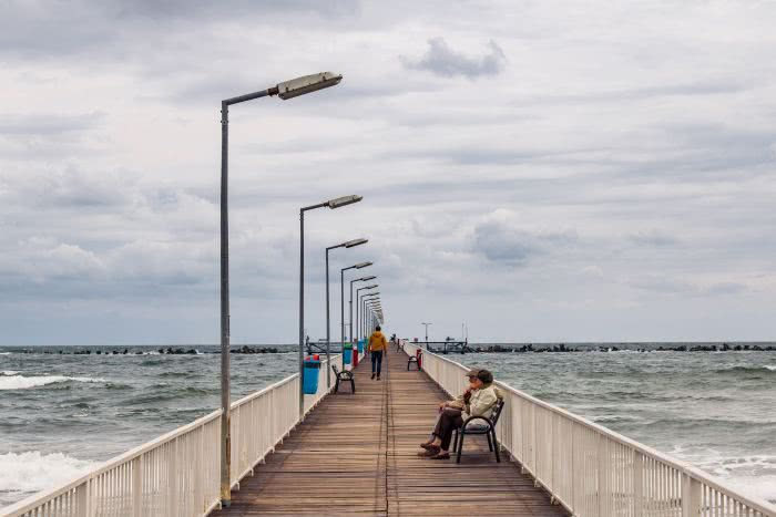 Das Schwarze Meer in Constanta in Rumänien