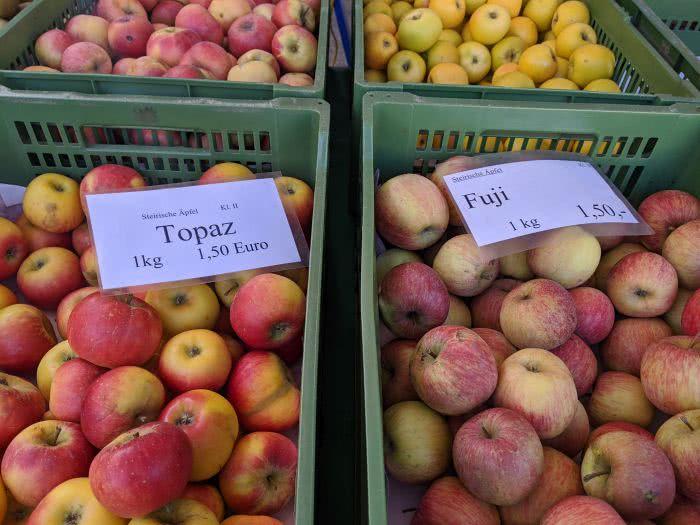 Äpfel aus der Steiermark findet man auf vielen Märkten in Graz