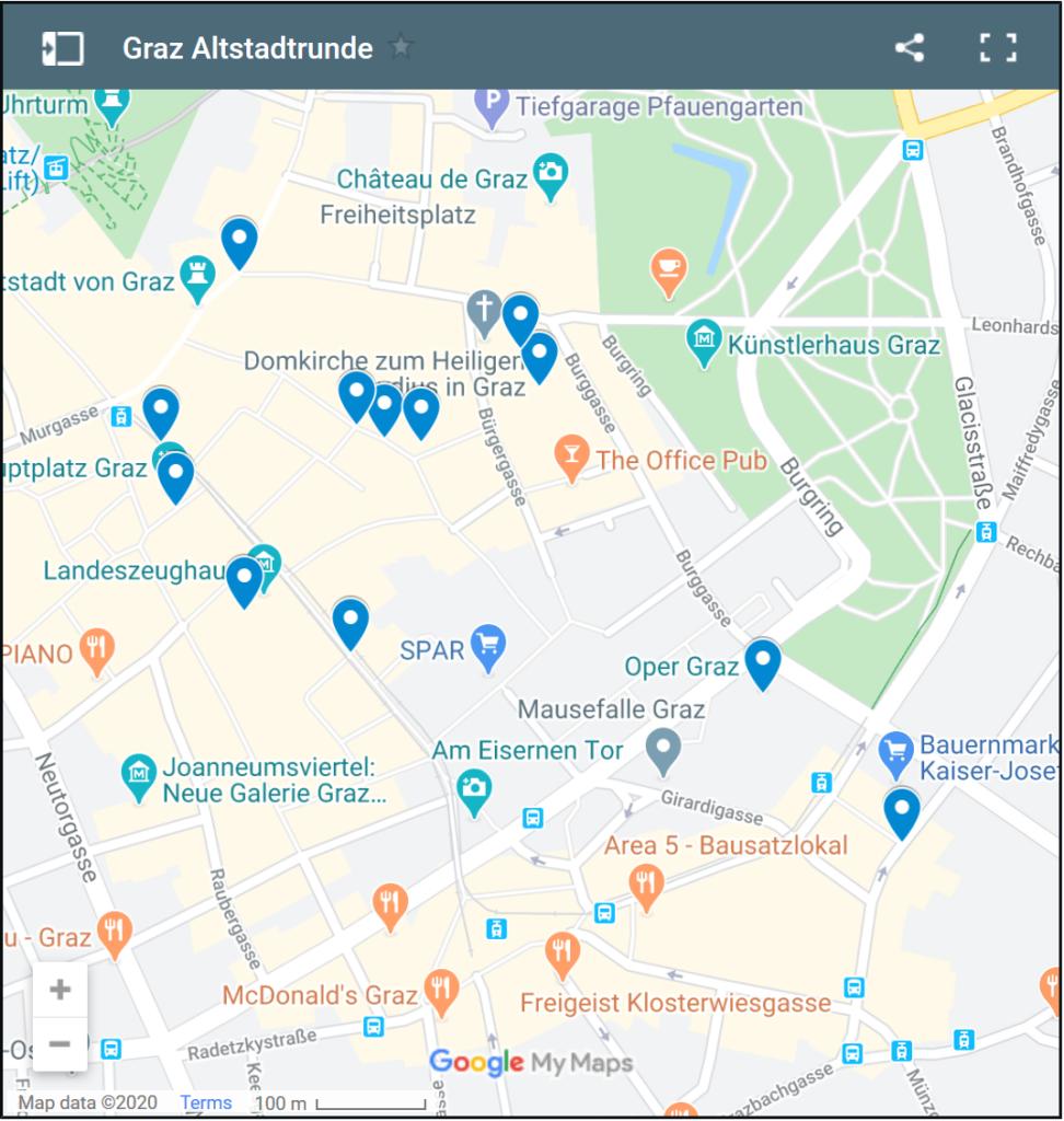 Sehenswürdigkeiten auf der Karte (Graz Altstadt)