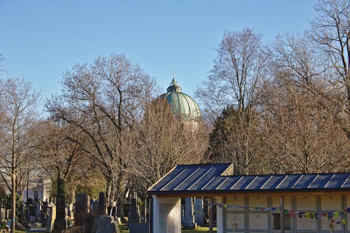 Der Zentralfriedhof im Winter in Wien