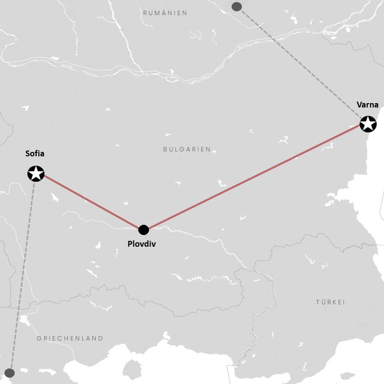 Sofia, Plovdiv und Varna auf der Bulgarien-Landkarte