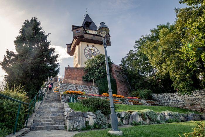 Das Wahrzeichen von Graz: Der Uhrturm auf dem Schlossberg