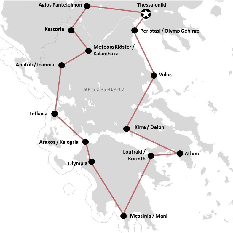 Karte: Unsere Griechenland Rundreise über das Festland