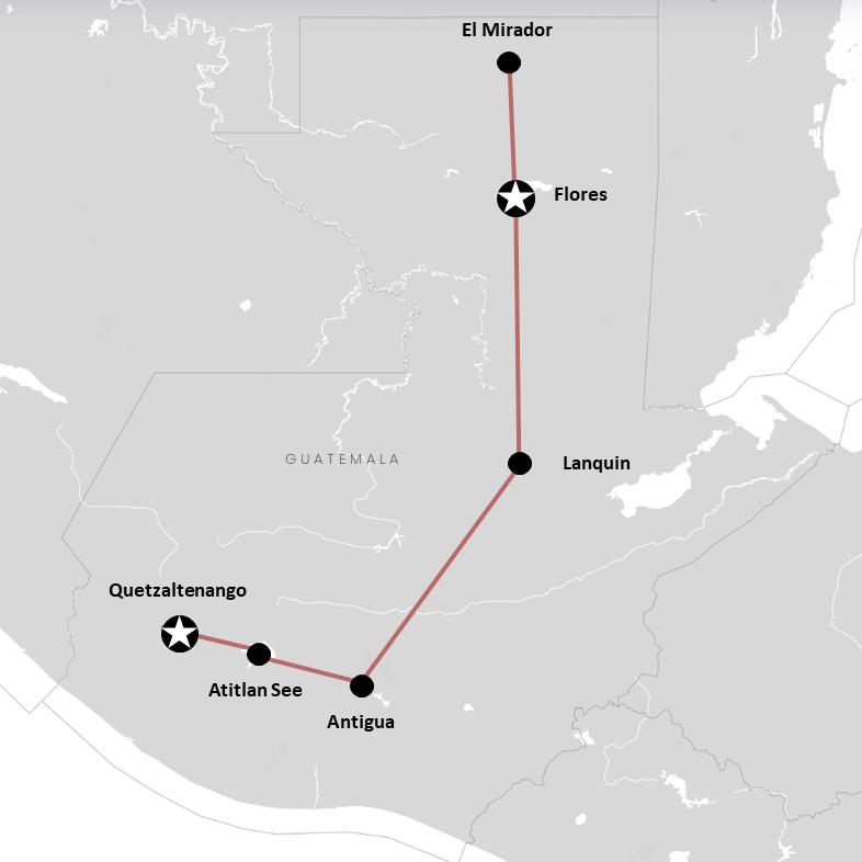 Unsere Route durch Guatemala auf der Karte