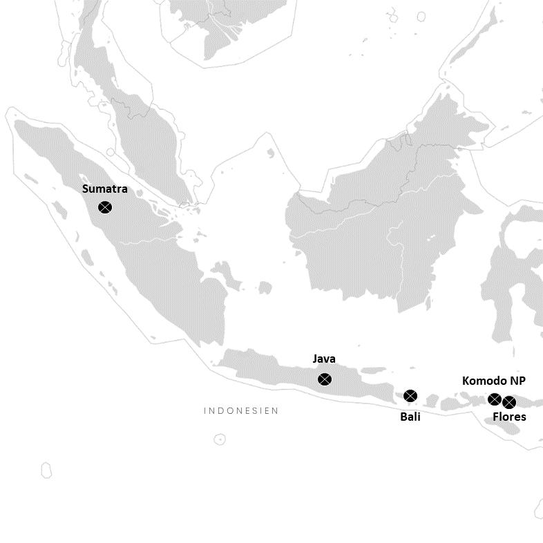 Die Inseln Sumatra, Java, Bali, Flores und Komodo auf der Indonesien-Karte