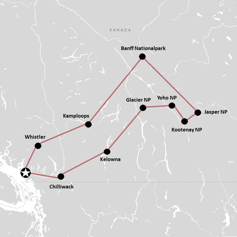 Route für die Rundreise durch Kanada (Westen) auf der Karte