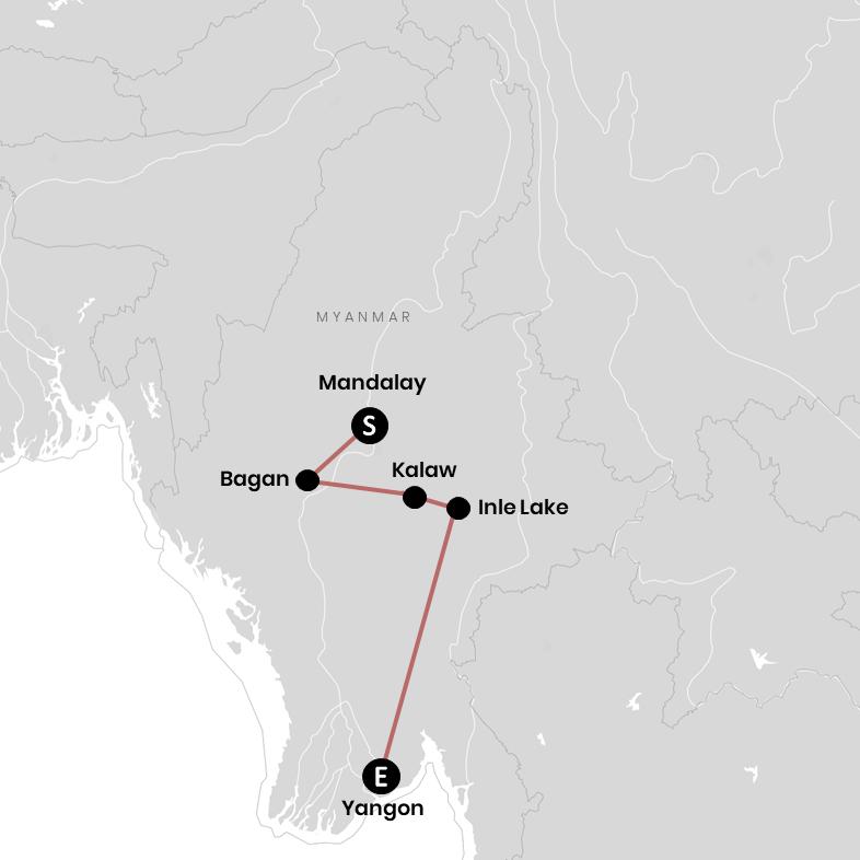 Meine Route durch Myanmar auf der Karte (mit allen Stopps)