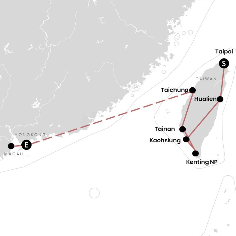 Taiwan, Hongkong und Macau auf der Ostasien-Karte