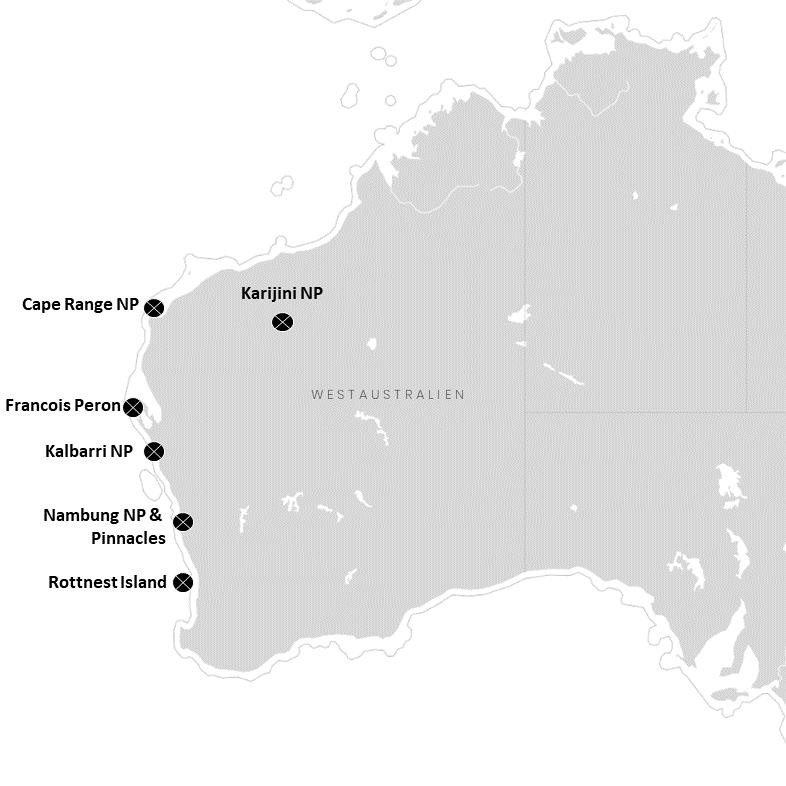 Westaustraliens Nationalparks auf der Karte