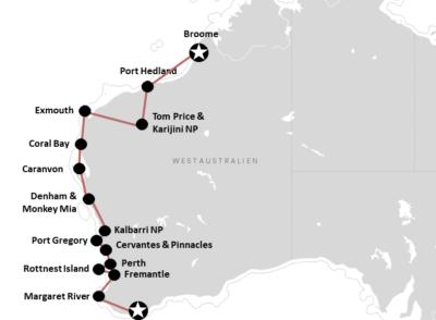 Westaustralien: Reiseroute von Broome bis Albany (mit Karte)