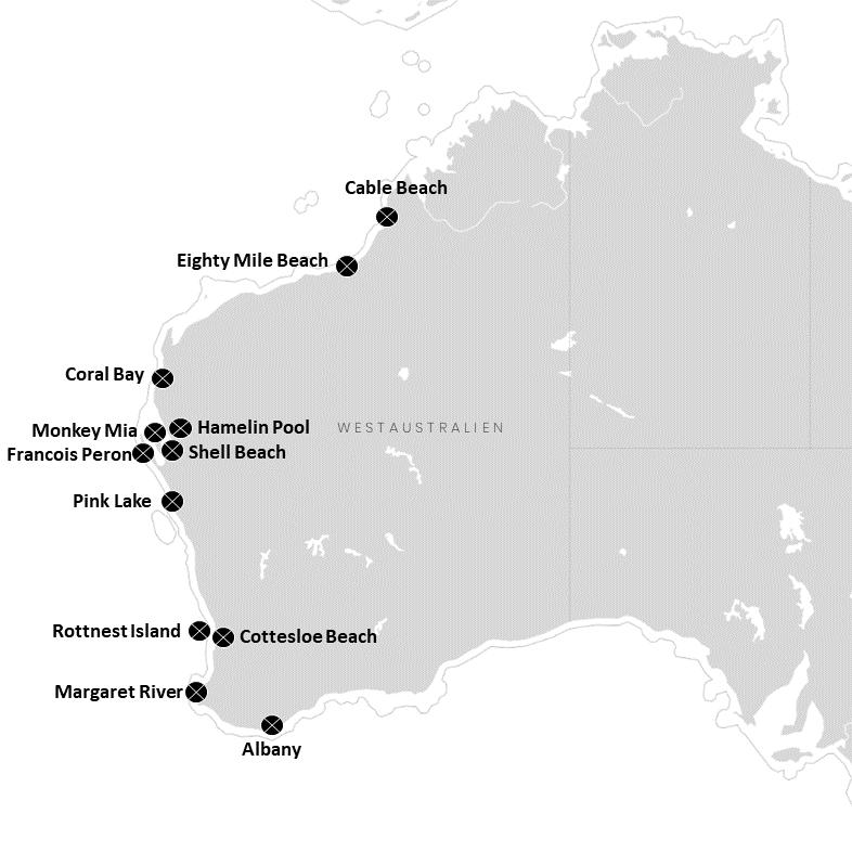 Strände in Westaustralien auf der Karte