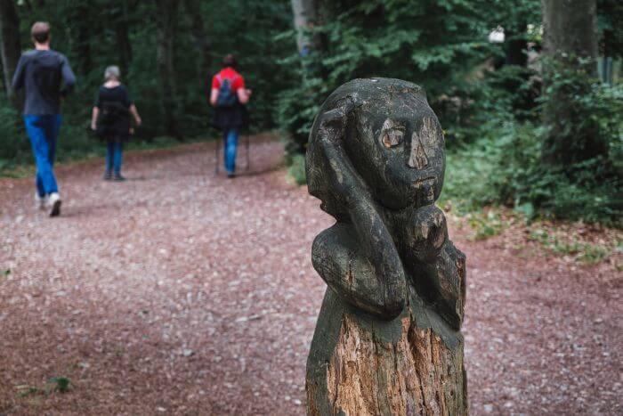 Eine interessante Holzkunstruktion liegt auf dem Wanderweg