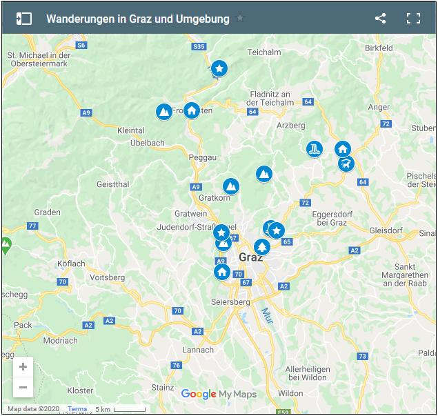 Ein Klick auf die Übersichtskarte führt zu den Wanderungen rund um Graz (Google Maps)