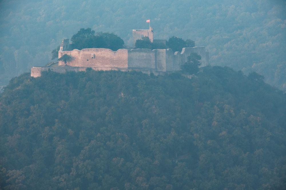 Die Schlossberg-Ruine am frühen Morgen vom Braunsberg gesehen