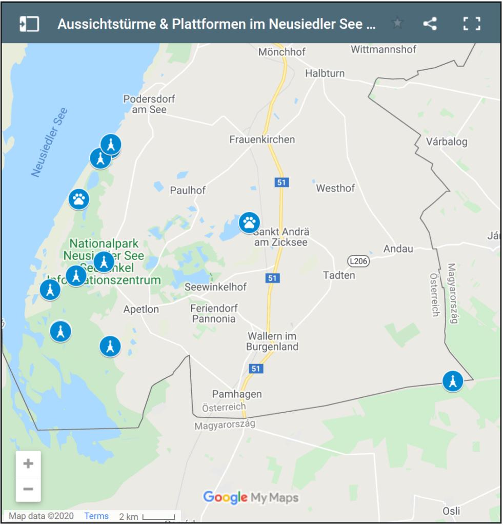 Übersichtskarte Nationalpark Neusiedler See / Seewinkel mit Beobachtungsstationen