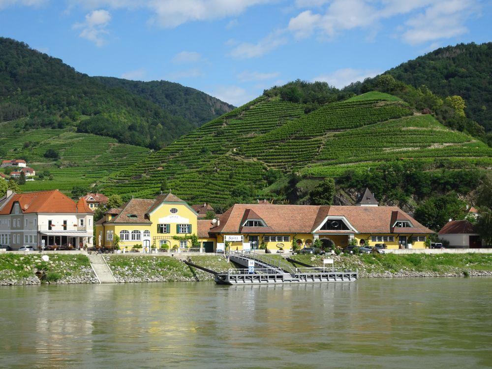 Ausblick während einer Donau-Kreuzfahrt in Österreich