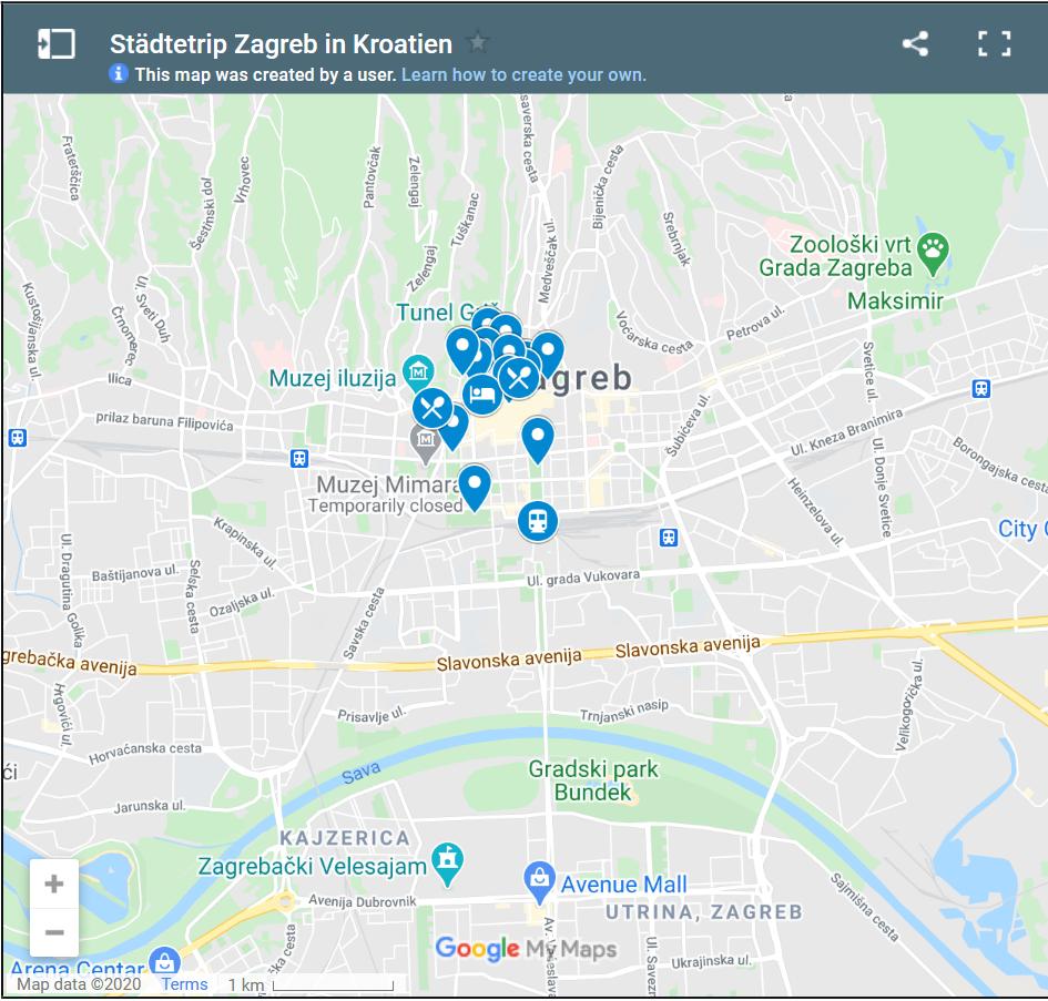 Zagreb Karte mit Sehenswürdigkeiten