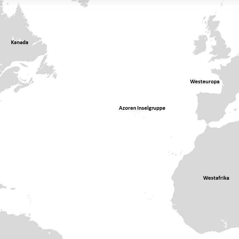 Zwischen Amerika, Afrika und Europa liegen die Azoren im Atlantik