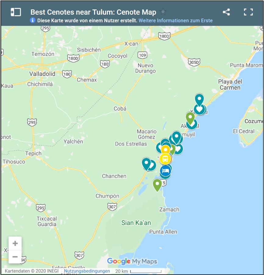 Karte mit Cenoten in Tulum