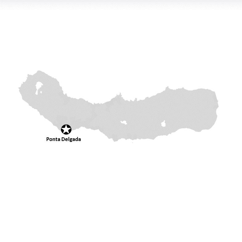 Ponta Delgada liegt auf der Insel Sao Miguel (Karte)