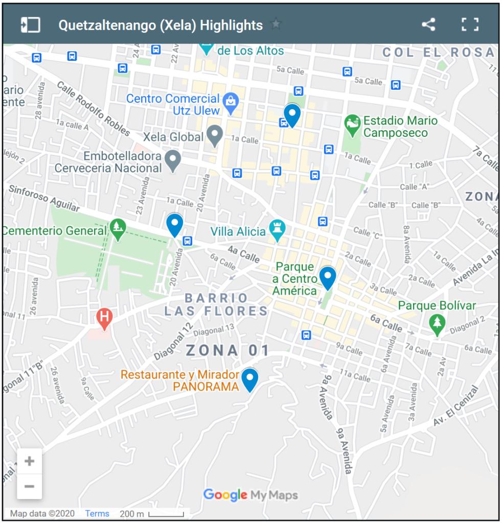 Karte:Hier liegen die Sehenswürdigkeiten in Xela