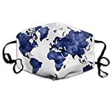 Multifunktionale Gesichtsschutzhülle,Dark Navy Blue Aquarell Weltkarte Gedruckte Unisex Waschbare Wiederverwendbare Gesichtsdekorationen Für Den Persönlichen Schutz