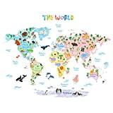 DECOWALL DAT-1615SDE Tedesco Mappa del Mondo Animali (Grande) Adesivi da Parete Decorazioni Stickers Murali Soggiorno Asilo Nido Camera Letto per Bambini decalcomanie