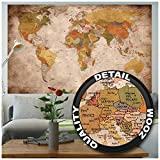 GREAT ART XXL Poster – Retro Weltkarte – Wandbild Used Look Dekoration Globus Kontinente Atlas Weltkarte Old School Vintage Map Weltkugel Geografie Wandposter Wanddeko Bild (140 x 100 cm)