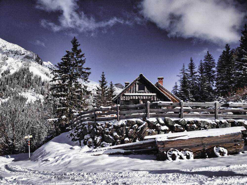 Die Ebneralm im Nationalpark Gesäuse ist ein Winterparadies