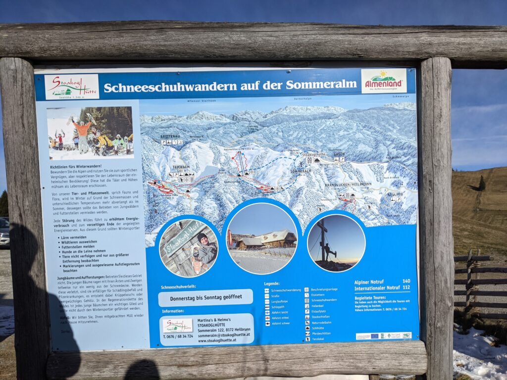 Almenland-Karte mit Wandergebiet für Schneeschuh-Turen