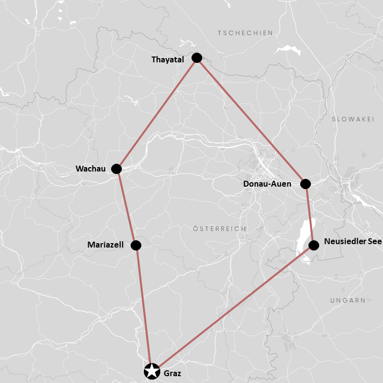 Die Route durch das Burgenland, Niederösterreich und Steiermark auf der Karte